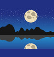 blue moon night lake background vector image