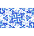 blue painted flowers in russian gzhel style vector image