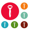 bottle opener icons circle set vector image