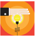 businessman hand with creative light bulb vector image vector image