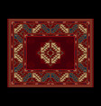 carpet with vintage ornament in red shades vector image vector image