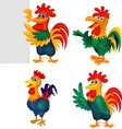 cartoon rooster collection set vector image vector image