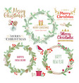 christmas wreaths silhouettes vector image vector image