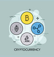 cryptocurrency thin line concept vector image