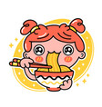 cute funny girl eat noodles from bowl hand vector image vector image
