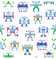 cute toy robots with antennas and wires seamless vector image vector image