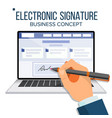 electronic signature laptop financial vector image vector image
