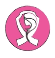 emblem breast cancer ribon with woman vector image