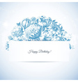 Etching floral garden greeting card hand drawn vector image