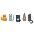 five cats with different characters vector image vector image