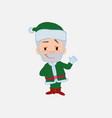 green santa claus waving with a dreamy expression vector image vector image