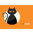 Halloween card with a silhouette of an evil cat in