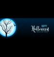 halloween full moon night scene with tree and bat vector image vector image