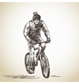 Hand drawn cyclist vector image vector image