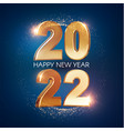 happy new 2022 year elegant gold text with light vector image vector image