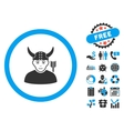 Horned Ancient Warrior Flat Icon with Bonus vector image vector image