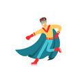 male superhero in classic comics costume with cape vector image vector image