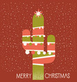 merry christmas cactus with garland on red vector image vector image