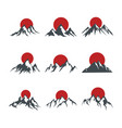 mountains with red sun isolated on white vector image vector image
