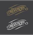 movember vintage typography on dark gray vector image vector image