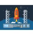 rocket startup flat design concept vector image