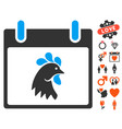 rooster head calendar day icon with valentine vector image vector image