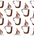Seamless pattern of a mug of steaming hot coffee vector image vector image