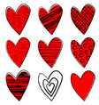 set doodle hearts vector image vector image