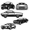 set of retro car on white background design vector image vector image
