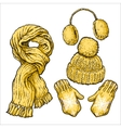 Set of yellow knotted scarf hat ear muffs and vector image vector image