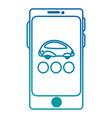 smartphone device with futuristic car vector image
