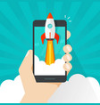startup concept flat cartoon quick rocket vector image vector image