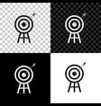 target with arrow icon isolated on black white vector image vector image