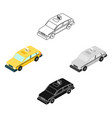 taxi car icon in cartoonblack style isolated on vector image
