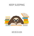 the story of one sloth at work study funny vector image vector image
