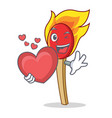 with heart match stick mascot cartoon vector image vector image