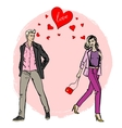 woman and man meet each other vector image