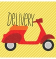 red vintage scooter delivery vector image