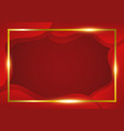 abstract red background with gold freame vector image vector image