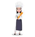 beautiful baker woman in professional uniform vector image vector image