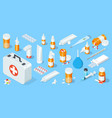 big set medical equipment and pharmacy first vector image vector image