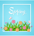 Blue spring background with green grass vector image vector image