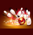 bowling game strike over dark red background vector image vector image