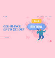 buy now website landing page man shout to vector image vector image