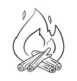 Campfire icon in outline style isolated on white vector image vector image