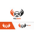 car helm and people logo combination vector image