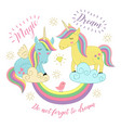 card with unicorns on the rainbow vector image vector image