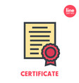 certificate icon on white flat style with outline vector image vector image