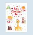 coupidone kids happy valentines day festive card vector image