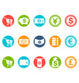 currency round button icons set vector image vector image